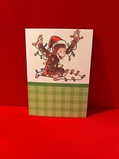 Vtg Curious George Christmas Card Collectible Green Plaid Presents Lights Monkey