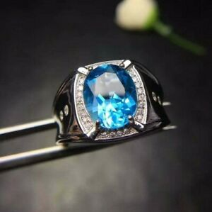 2.5 ct Oval Cut Aquamarine & Sim Diamond men's Statement Ring 14k White Gold FN