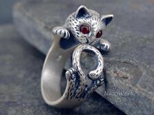 Silberring Katze Kitten Vintage Ring Silber 925 Verstellbar Damenringe Damen