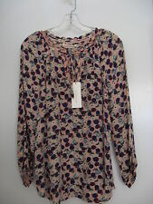 REBECCA TAYLOR PEASANT STYLE BLOUSE ROSE PINK MULTI FLORAL 100% SILK SIZE 10 NWT