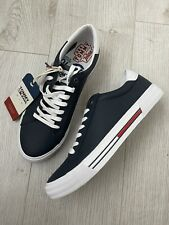 New Tommy Hilfiger Jeans Mens Blue Leather Trainers Sneakers Size UK 8 EUR 42