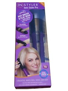 InStyler Ionic Styler Pro Ionic Hot Brush and Ceramic Flat Iron, Purple