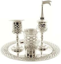 More details for 4 piece silver havdalah set for shabbat quilted design jewish havdalla shabbos
