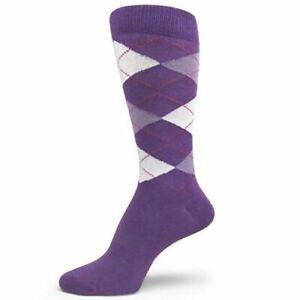 XL Extra Large Size Men's Argyle Dress Socks,Light Purple/Lavender/White