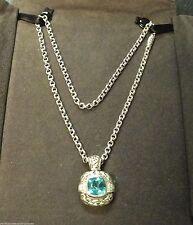 Scott Kay Diamond & London Blue Topaz Enhancer Pendant Chain Necklace