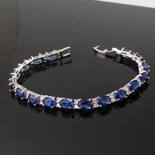 "Fabulous chain 18k white gold filled Oval blue Topaz glowing lady bracelet 6.7"""