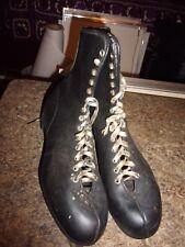 Vintage Mens Black Ice Skates Size 12 Sheffield Steel Blades Great Britain  LOTL