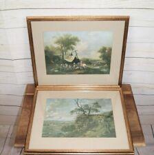 2 x Framed Antique Reproduction 17th & 18th Century Landscape Fine Art Prints