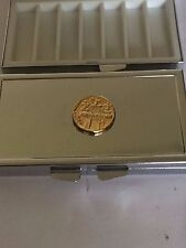 Aureus Of Cladius Coin WC31 Gold Pewter On A Mirrored 7 Day Pill box Compact