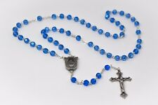 Lourdes Water Sapphire Crystal Rosary Beads & Prayer Card