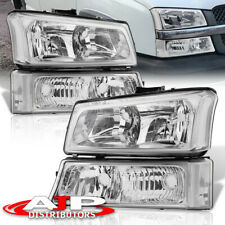 4Pc Chrome Clear Headlights + Signal Bumper Lamps For 2003-2006 Chevy Silverado