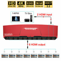 TESmart 4K@60hz 2x8 2 in 8 out HDMI Splitter Switch Support HDCP 2.2 HDR EDID