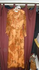 Never Worn Vtg Alfred Shaheen-the Master Printer 60's Long Chiffon Dress/Lined