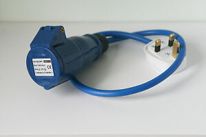 13 amp plug to 16 amp ceeform blue socket caravan fly lead PAT tested