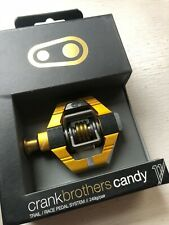 Crank Brothers Candy 11 Clipless MTB Pedals Gold/ Gold Spring w/ Cleats CX XC 7