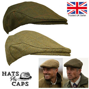 British Derby Tweed Flat Cap Waterproof Teflon Country Shooting Hat