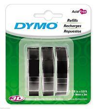 """3PK (3-Rolls) Dymo Glossy BLACK 3/8"""" (9mm) Embossing Label Maker 3D Refill Tapes"""