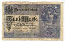 1917 Germany 5 Mark Reichbanknote Paper Money Banknotes Currency