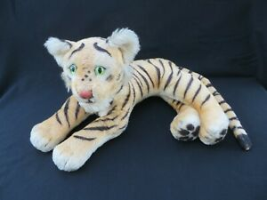 """VINTAGE 1950s LARGE STEIFF LAYING TIGER tag button 26"""""""