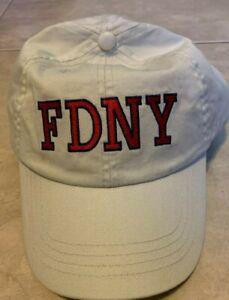 FDNY Keep Back 200 Feet New York Fire Dept Beige Hat Cap NEW Adjustab Strap Back
