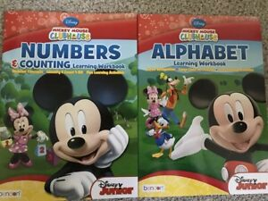 DISNEY MICKEY Mouse CLUBHOUSE Alphabet & numbers Learning Workbook New 2 Books