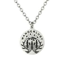"WANDERLUST NECKLACE 22"" Chain Outdoor Adventure Wilderness Pendant Travel Camper"