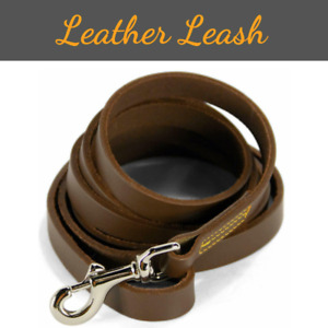 """Leather Dog Leash 6 Ft Long for Training Large Dogs Heavy Duty 3/8"""" Wide Plain"""