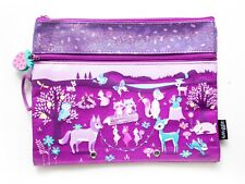 Smiggle Pencil Case Wood Themed Purple Flat Case Strawberry Charm Zip 2 Compartm