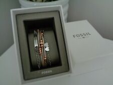 Fossil 3 x Bracelet Gift Set - Silver Crystal -  Rose Gold Leather Beaded