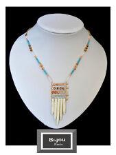 Halskette Kette Edelsteine Bi&Jou Paris Collier Howlith Aquamarin Opal Collier