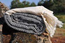 Turkish Bath Towel 100% Cotton Diamond Print Hammam Peshtemal Large Home Black