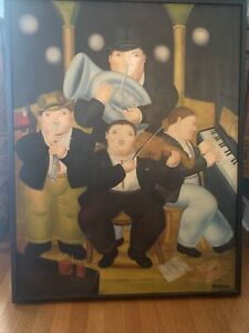 Musicians Oil on Canvas Painting in the manner to Fernando Botero