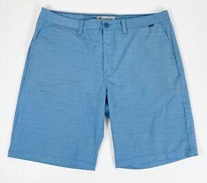 Travis Mathew Mens 38 x 10 Casual Golf Shorts Blue Check Poly Cotton