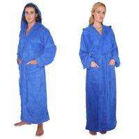 MENS WOMENS FULL LENGTH HOODED BATHROBE TURKISH COTTON TERRY TOWEL ROBE BLUE