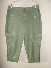 Lane Bryant Womens Size 14 Avocado Distressed Cargo Cropped Pants