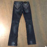 Miss Me JP5123 Bootcut Distressed Stretch Denim Jeans Dark Blue Woman's Size 28