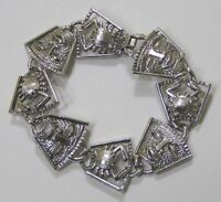 Vintage Jewelry Sarah Coventry Bracelet Astrology Sign Cancer and Masks