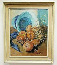 Rita Greig (British) Framed, Signed, Oil On Canvas 'Onions & Blue Straw Hat'