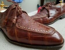 DAVID EDEN Studded Alligator SPLIT TOE ONE EYELET ITALY DRESS SHOES EUC 11.5 D