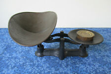 Antique Balance Scale, Store Mercantile Black Paint Tray Brass Weight, Primitive