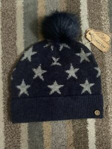 Fat Face Ladies Wool Beanie Hat Pom Pom Navy Grey Stars BNWT New Christmas
