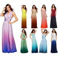 Women Gradient Color Long Maxi Dress Cocktail Wedding Formal Evening Party Gown