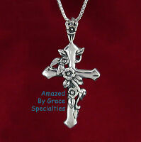SOLID Sterling Silver 925 ROSE Cross Pendant & Chain - NEW! USA Seller!