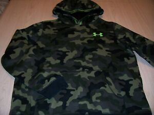 UNDER ARMOUR LOOSE FIT LS GREEN CAMO HOODIE BOYS XL 18-20 EXCELLENT