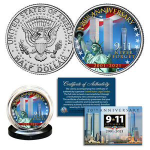 World Trade Center 9/11 20th ANNIVERSARY 2001-2021 JFK Kennedy Half Dollar Coin