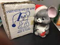 Vintage Christmas Mouse Night Light Wearing Santa Hat ~ Needs A Light