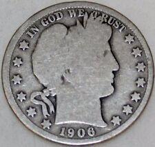 1906-O 50C Barber Half Dollar, a1417loas  90% Silver, Free Shipping & Handling