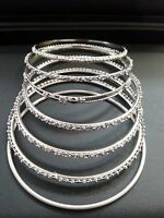 7 SILVER TONE FASHION  BANGLE BRACELETS