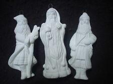 D299 - Ceramic Bisque Ornament - 3 Old World Santas Set F - Ready to Paint