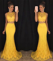 Two Piece Lace Mermaid Evening Dress Party Pageant Formal Prom Ball Gown Custom